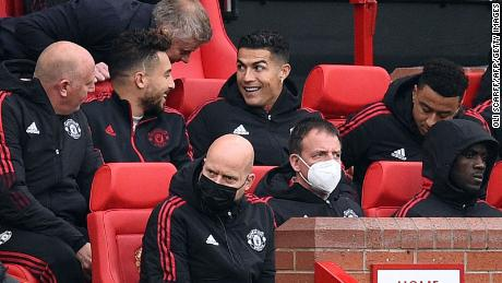 Cristiano Ronaldo began the match against Everton on the substitutes' bench.