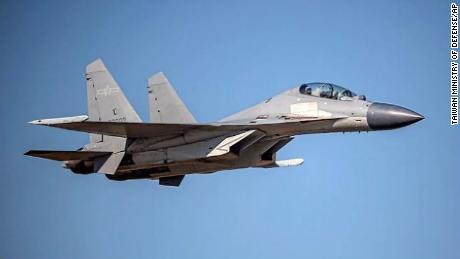 The Taiwan Ministry of Defense released this undated file photo of a Chinese J-16 fighter jet when they announced that PLA aircrafts entered their air defense identification zone.