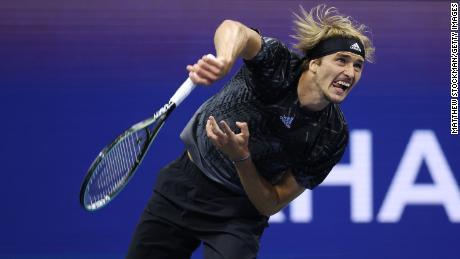 Zverev serves the ball against Djokovic at the 2021 US Open.
