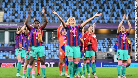 History maker: Oshoala celebrates as Barcelona crush Chelsea 4-0 to win the Women's Champions League