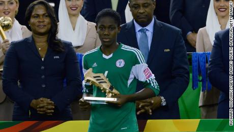 Scoring sensation: Oshoala won the Golden Boot at the 2014 FIFA Women's U-20 World Cup with seven goals to her name