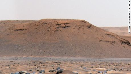 This long, steep slope is called an escarpment, or scarp, along the delta in Mars' Jezero Crater.