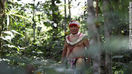 The Shuar people live in the jungle mountain range that straddles Ecuador and Peru. Pictured is Tomás Unkuch, from a Shuar community in Chumpias, in the Morona Santiago province of Ecuador.