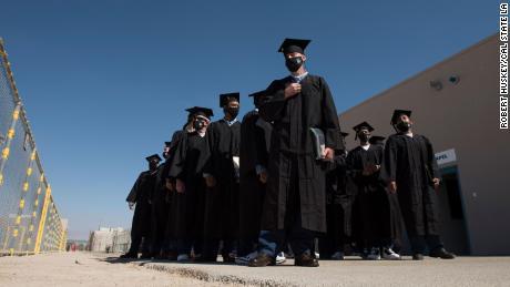 Graduates at graduation ceremony.