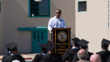 Alan Burnett speaks at the graduation ceremony at the California State Penitentiary in Los Angeles County (LAC) on October 5, 2021.