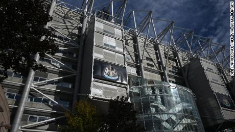 A picture shows the exterior of Newcastle United football club's stadium St James' Park in Newcastle upon Tyne in northeast England on October 8, 2021.