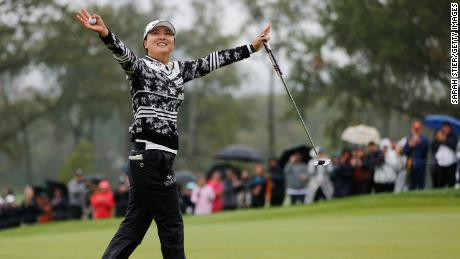 Ko reacts after sinking her final putt on the 18th to win the Founders Cup.