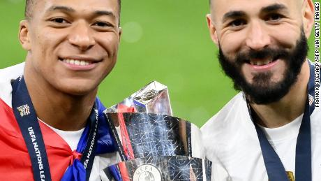 Mbappé (left) and Benzema scored for France.