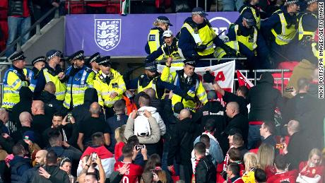 Hungary fans clash with police during the FIFA World Cup qualifier at Wembley.