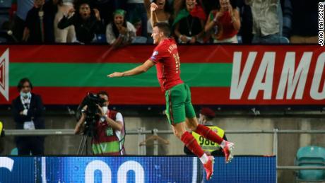 Joao Palhinha marks his goal with a Ronaldo-esque celebration.