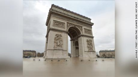 Paris's Arc de Triomphe did not really flood; this picture of it from Google Street View has been modified with AI to show what such a climate catastrophe could look like.