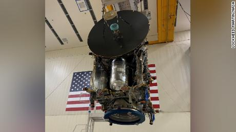 The nearly assembled Lucy spacecraft is shown in late 2020.