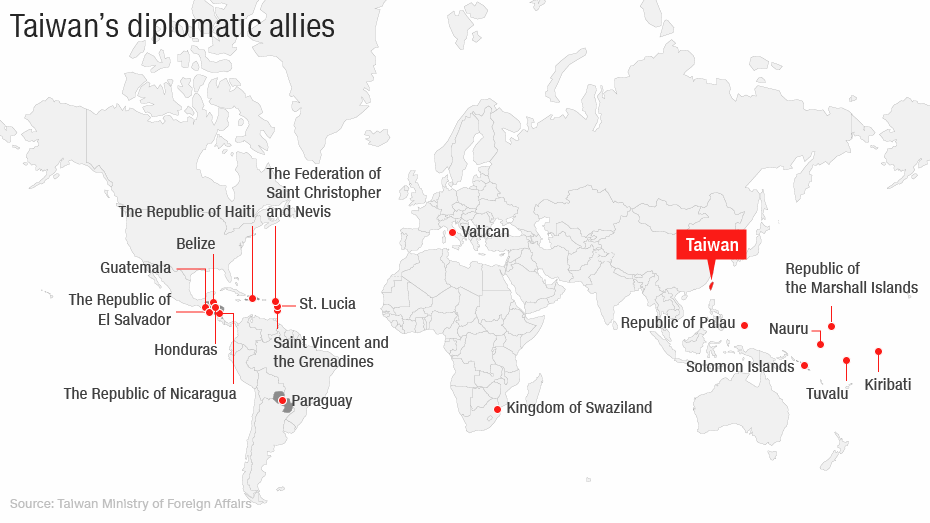 Lista państw, które utrzymują obecnie stosunki zTajwnem