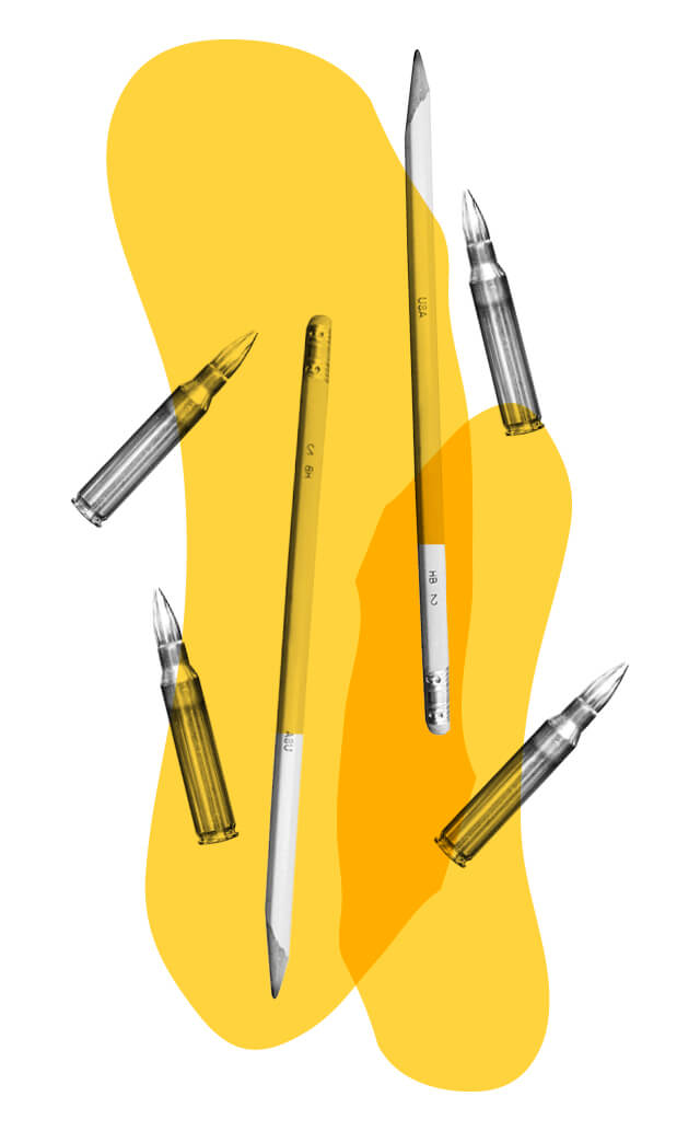 pencil bullet illustration