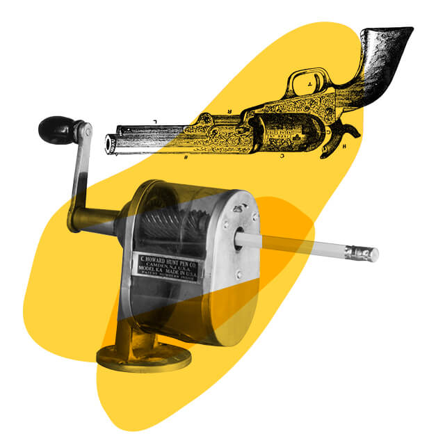 pencil sharpener gun illustration
