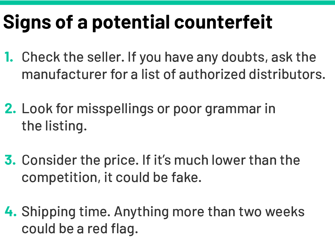 Signs of a potential counterfeit