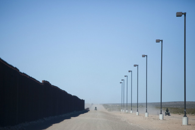 Border Patrol officers roam the U.S. side of the border between Palomas, Mexico, and Columbus.