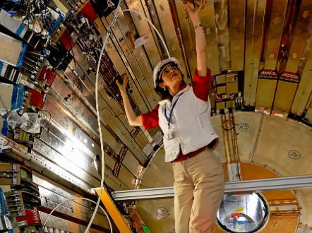 CERN experimental physicist Fabiola Gianotti in the ATLAS detector, 14 April, 2007. - (Courtesy Mike Struik)