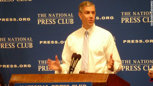 Secretary of Education Arne Duncan speaks on the state of education at the National Press Club in Washington, D.C. on October 2, 2012.