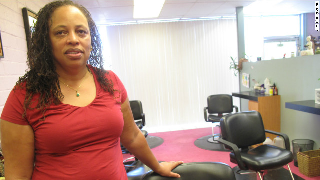 Angela Collins struggles with her business and her disappointment with President Obama.