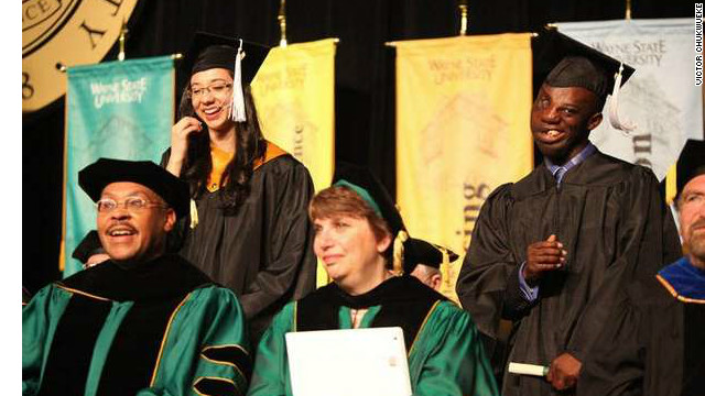 Victor Chukwueke spoke at his graduation from Wayne State University. He has been accepted to medical school.