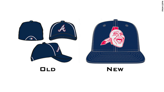 The new logo for Braves batting practice caps, posted on ESPN's website, has been called offensive.