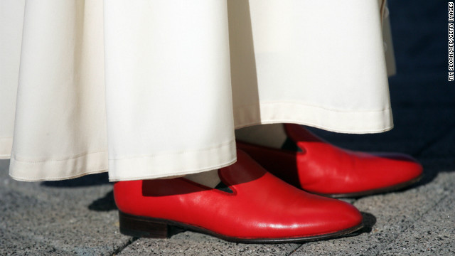 Pope Benedict XVI wearing red shoes.