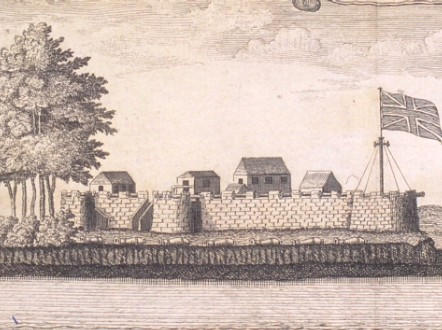 Historical image of the British slave trading post of Bunce Island.