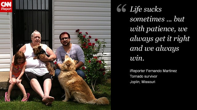 Fernando Martinez (right), his grandmother and niece sit in front of their home two years after the Joplin tornado.