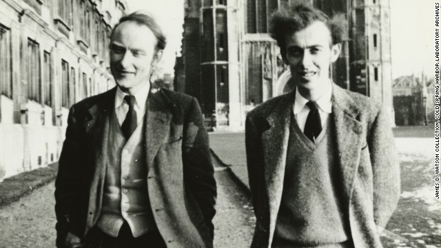 Francis Crick and James Watson in 1953 at Cambridge University, where they worked on figuring out the structure of DNA.