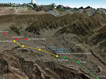 A map displays the planned route of the La Paz ropeway.