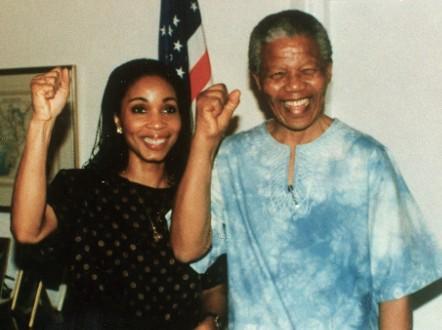 Helene Gayle with Nelson Mandela. - (Courtesy Helene Gayle)