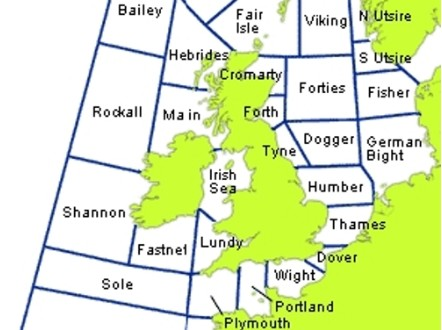 Shipping forecast map. - (Met Office)