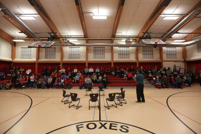 Much of the community gathered for a holiday program at the school in December.