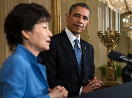 A few months after being elected, Park visited the U.S. to mark 60 years of bilateral partnership. - (Getty Images)