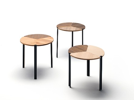 These stackable modular wooden coffee tables, designed by David Lopez Quincoces, were on display in Milan - (Courtesy Living Divani)