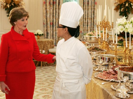 The First Lady holds a lot of sway when it comes to White House meals, with Laura Bush appointing Chef Comerford to the top job. - (Getty Images)