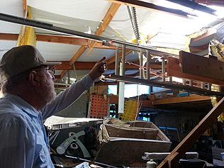 The tornado threw a refrigerator into Melvin Sexton's garage.