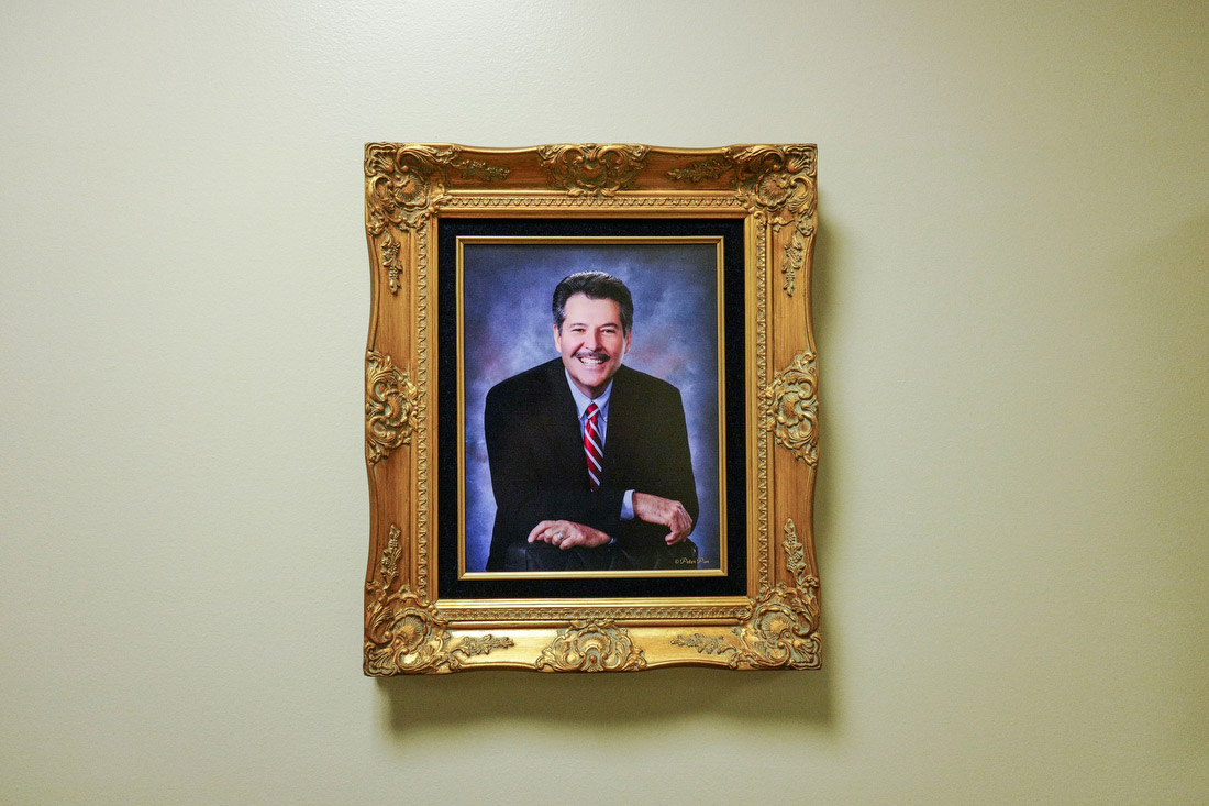 A portrait of Pete Saenz, mayor of Laredo. The population of Laredo is about 96% Latino. Free trade agreements have helped make the city one of the busiest inland ports in the United States.