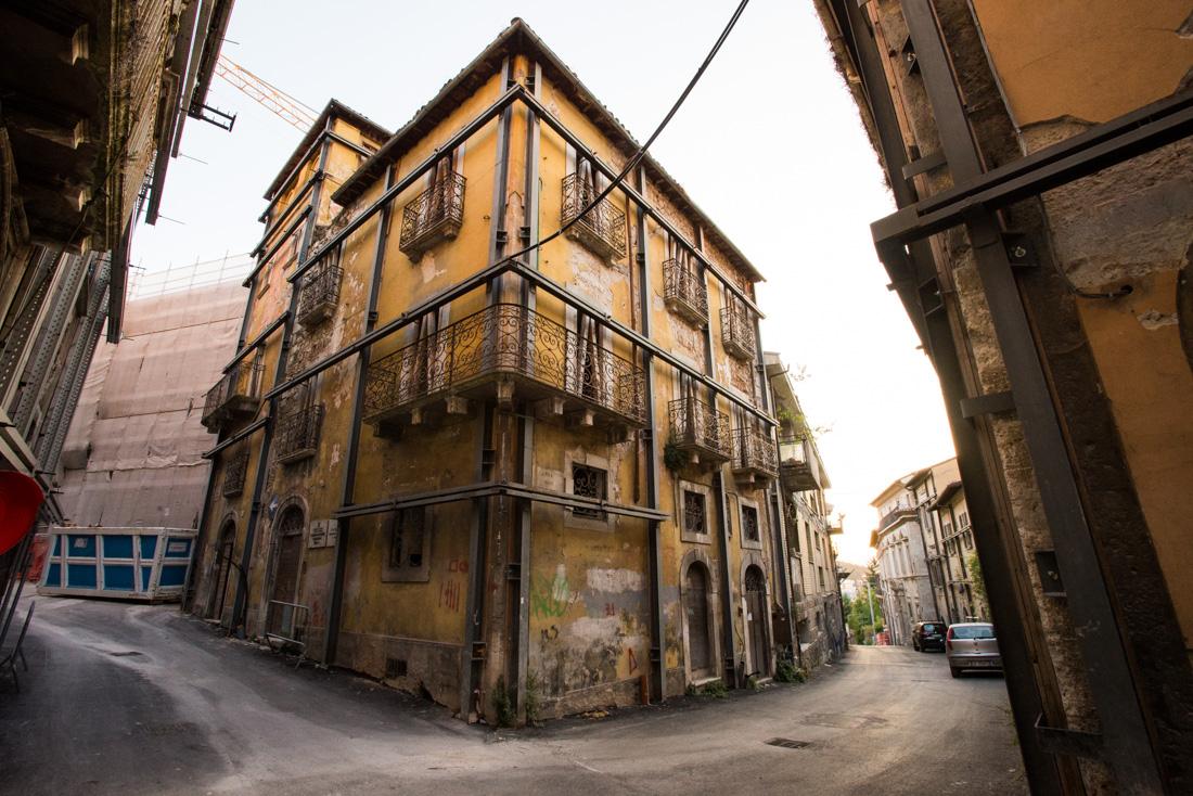 "Empty streets in the ""zona rossa."""