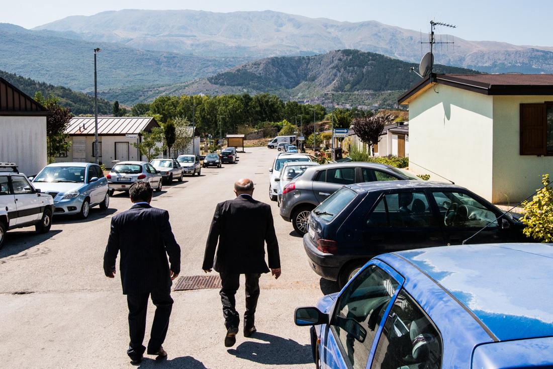Two men stroll down the thoroughfare of Friuli Venezia Giulia, where the community of Fossa has relocated.