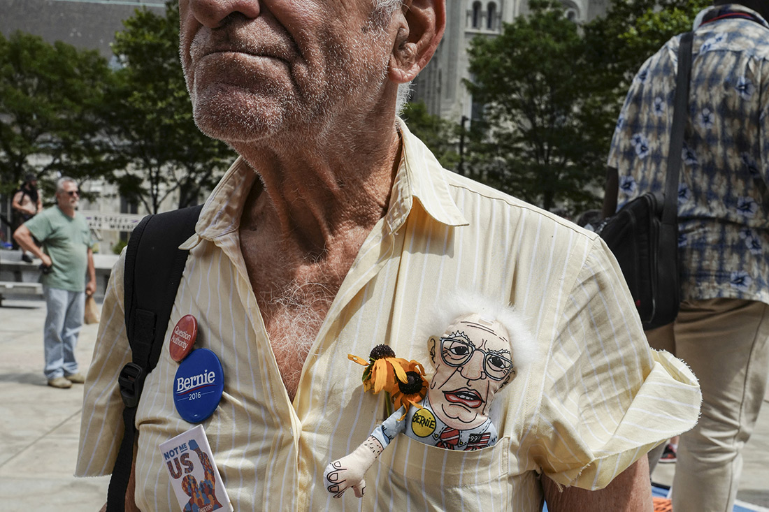 A Bernie Sanders supporter protests at the Democratic convention.