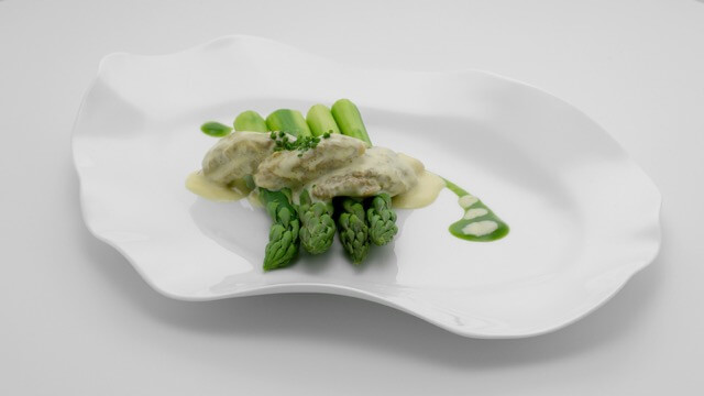 Green Asparagus with Morels, Asparagus Jus