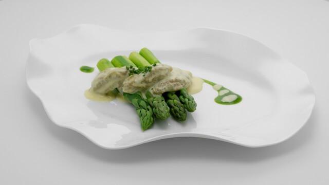 Green Asparagus with Morels, Asparagus Jus