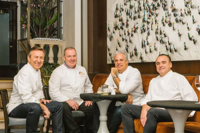 Shared smiles between four old friends: Daniel Boulud, Jacques Torres, Eric Ripert and Jean-Georges Vongerichten.