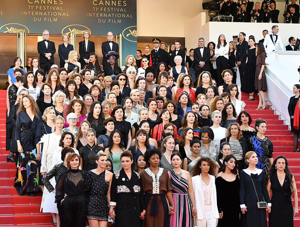 Palais des Festivals at the Cannes Film Festival to protest gender inequality in the film industry
