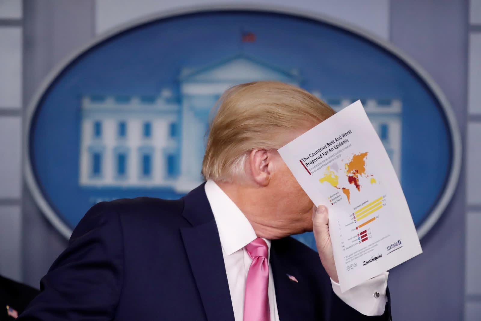 2 дугаар сарын 26. АНУ-ын Ерөнхийлөгч Дональд Трамп хэвлэлийн бага хурлын үеэр коронавирусний эсрэг явуулах Цагаан ордны хариу арга хэмжээг танилцуулж байгаа нь... /Photo by Carlos Barria/