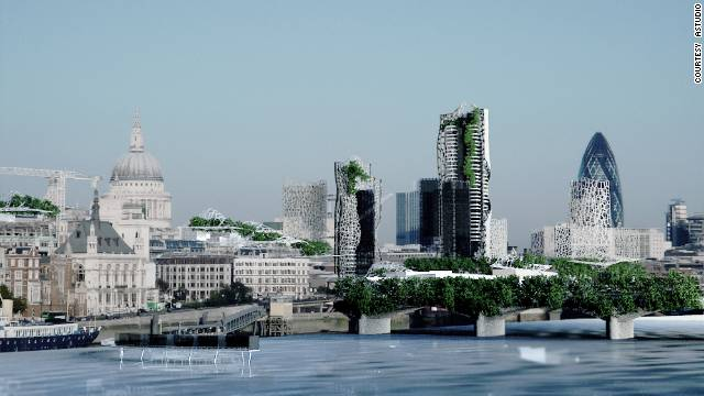 "A graphical representation of London's ""living"" skyline as envisaged by award-winning architect Richard Hyams."