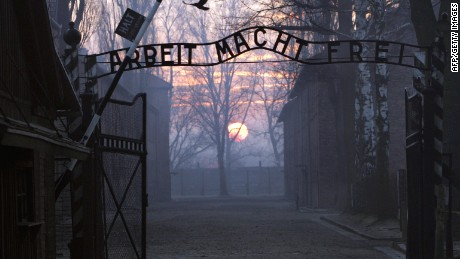 The gates of the Auschwitz prison camp run by the Nazis during World War II
