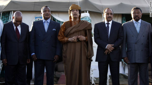 Presidents Amadou Toumani Toure of Mali, Jacob Zuma of South Africa, Denis Sassou Nguesso of Congo, Libyan leader Moamer Kadhafi, Mohamed Ould Abdel Aziz of Mauritania and African Union presidents